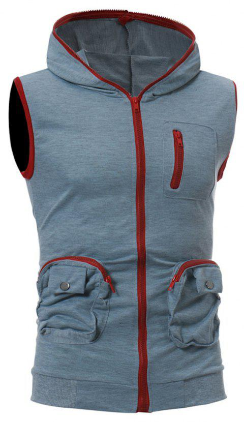 Men's Casual Three-Dimensional Pocket Fashion Vest - LIGHT GRAY M