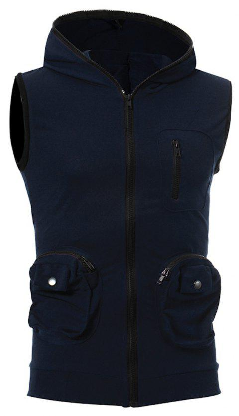 Men's Casual Three-Dimensional Pocket Fashion Vest - CADETBLUE L