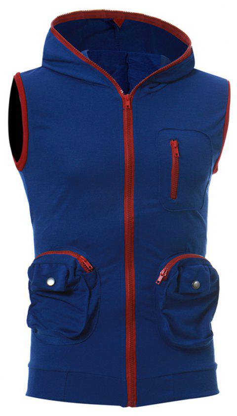 Men's Casual Three-Dimensional Pocket Fashion Vest - ROYAL BLUE 2XL