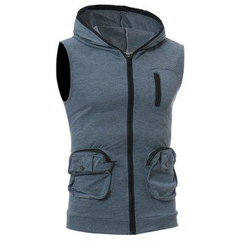 Men's Casual Three-Dimensional Pocket Fashion Vest - DARK GRAY XL