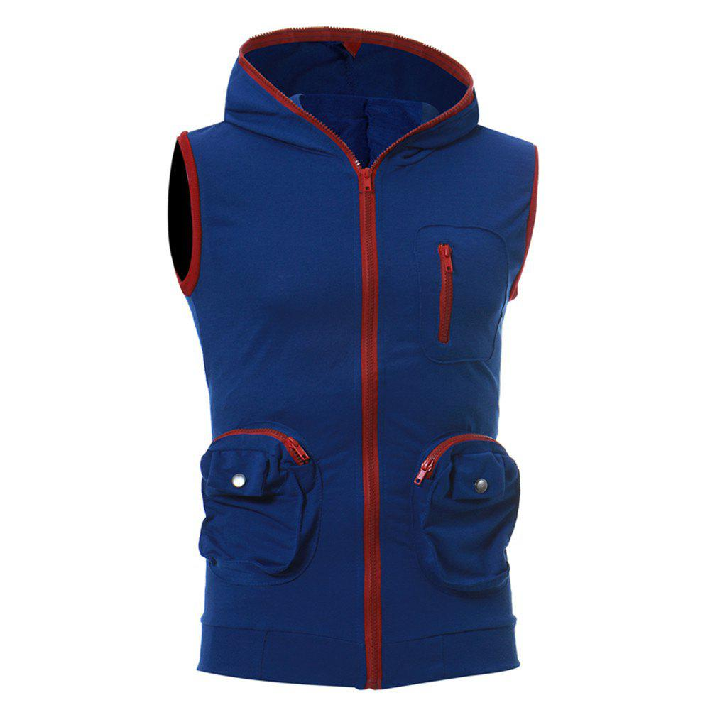 Men's Casual Three-Dimensional Pocket Fashion Vest - ROYAL BLUE L