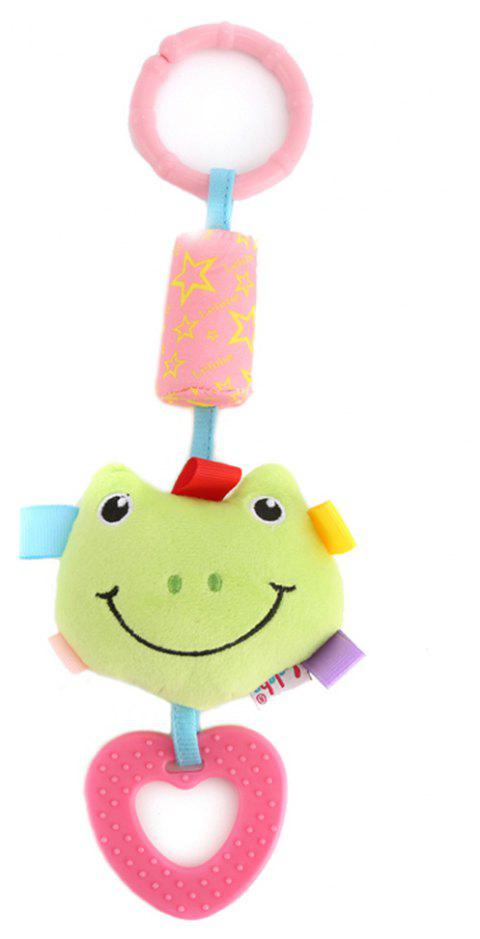 Newborn Baby Bed Bells Plush  Lovely Cartoon Design Rattles  Teether for Baby - FROG GREEN