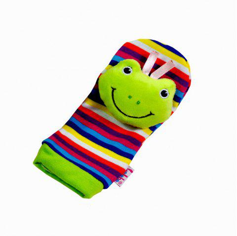 Creative Lovely Animal Pattern Striped Sock Design Rattles and Teether - FROG GREEN