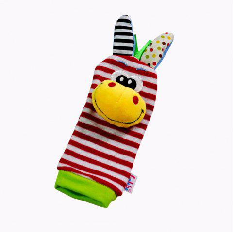 Creative Lovely Animal Pattern Striped Sock Design Rattles and Teether - YELLOW