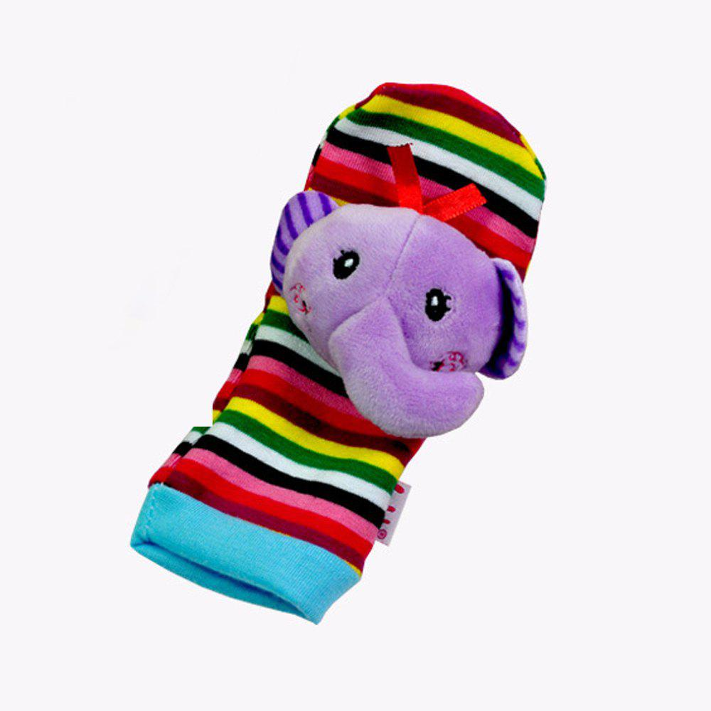 Creative Lovely Animal Pattern Striped Sock Design Rattles and Teether - MAUVE