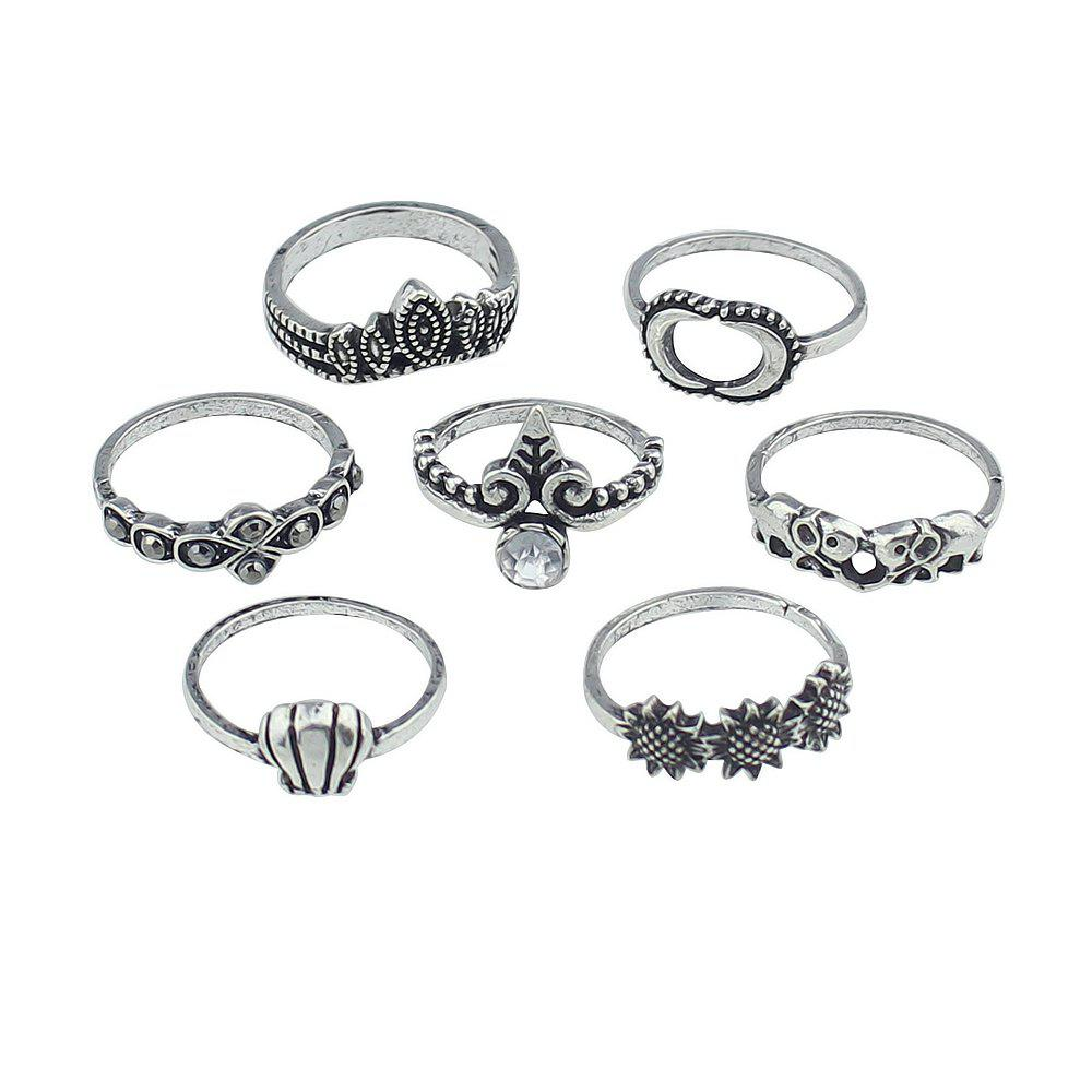 7 Pcs Geometric Sunflower Elephant Rings - SILVER RING SET