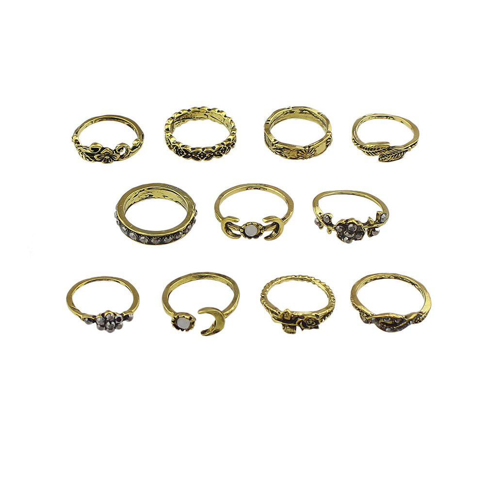 11 Pcs Flower Leaf Knuckle Rings For Women - GOLD RING SET