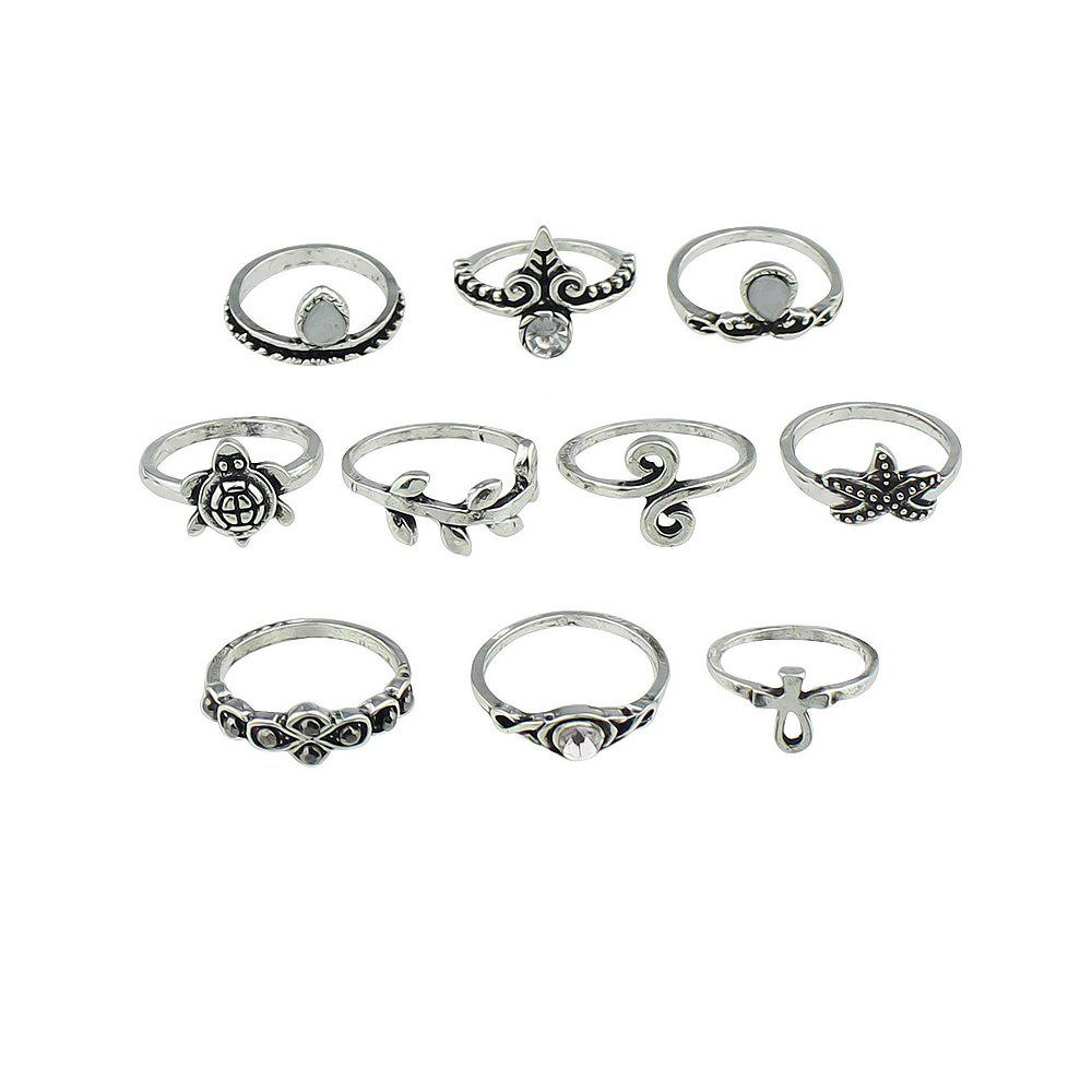 10 Pcs Turtle Starfish Leaf Flower Knuckle Rings - SILVER RING SET