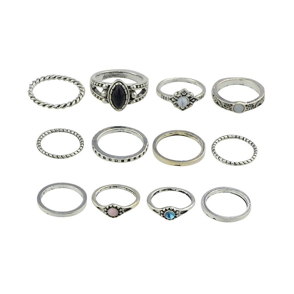 12 Pcs Bohemia Black Sapphire Turquoise Knuckle Rings - SILVER RING SET