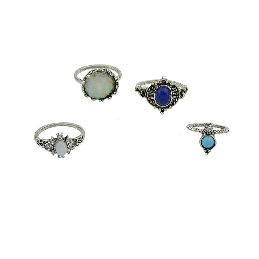 4 Pcs Knuckle Ring for Women Blue Stone White Opal - SILVER RING SET