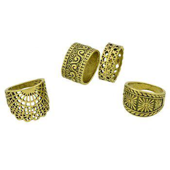 4 Pcs Hollow Out Knuckle Ring Set For Women - GOLD RING SET
