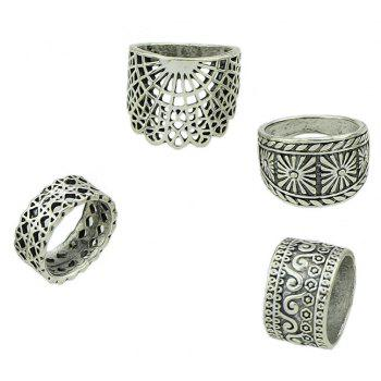 4 Pcs Hollow Out Knuckle Ring Set For Women - SILVER RING SET