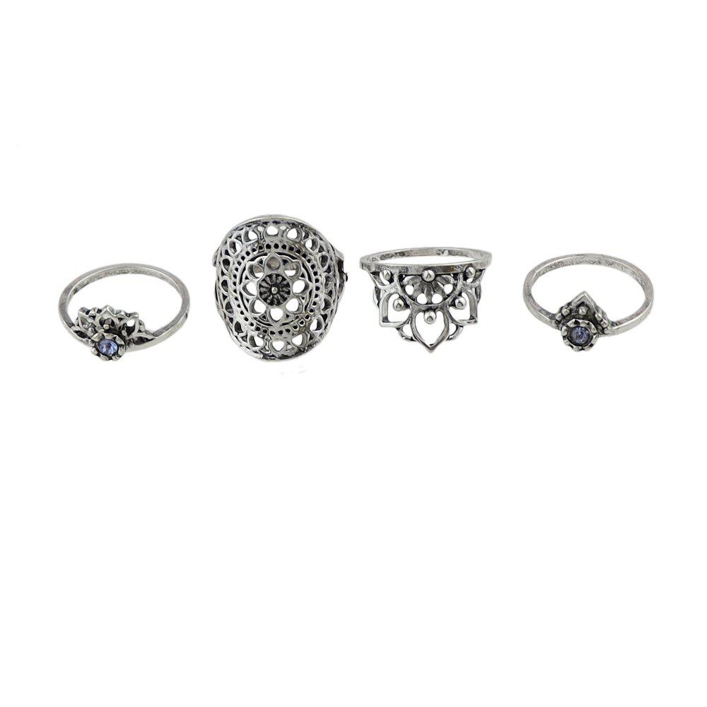 4 Pcs Crown Pattern Knuckle Jewellery Rings - SILVER RING SET
