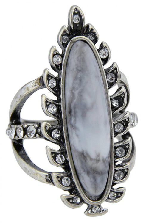 Antique Silver Color with Rhinestone Geometric Ring - SILVER ONE-SIZE