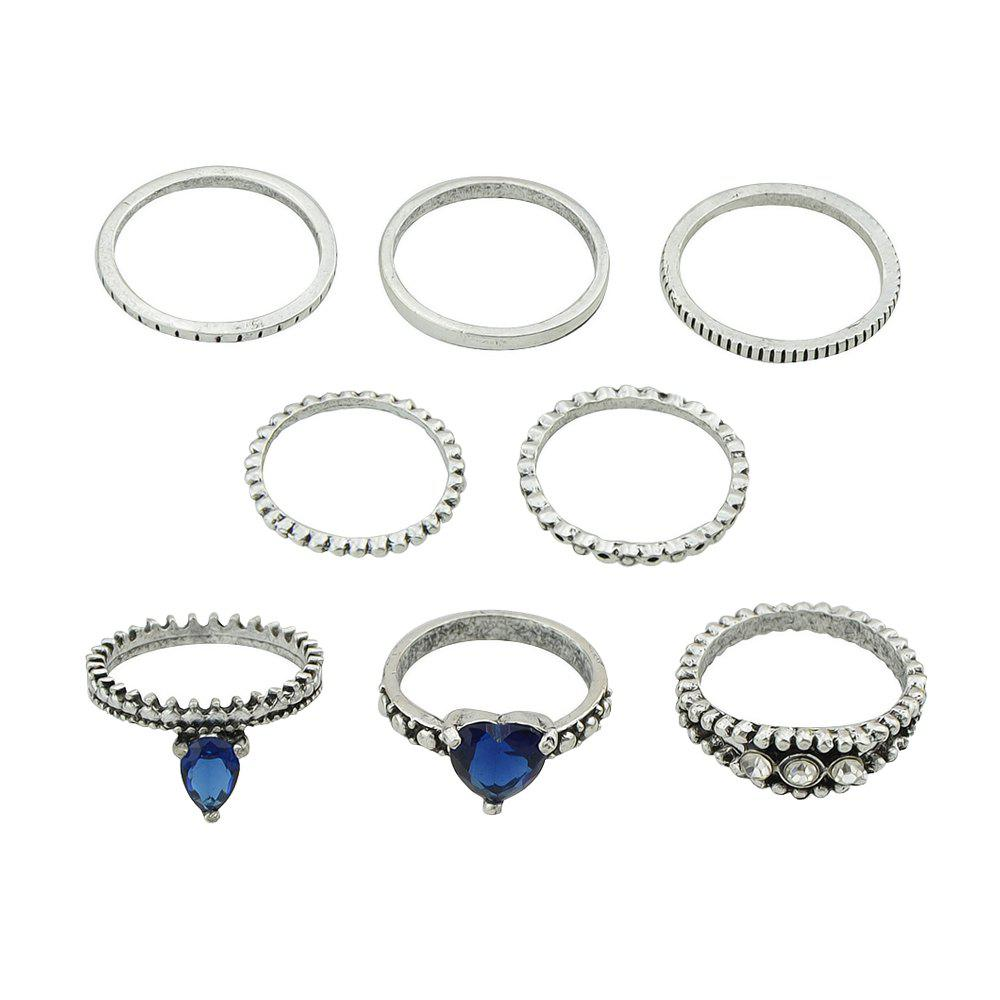 8 Pcs Silver Color with Rhinestone Blue Crystal Heart Rings - SILVER RING SET
