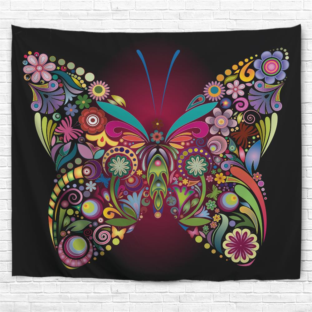 Colorful Butterfly 3D Printing Home Wall Hanging Tapestry for Decoration - multicolor A W200CMXL180CM