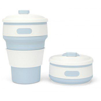 350ML Creative Multifunctional Silicone Portable Folding Cup - LIGHT BLUE