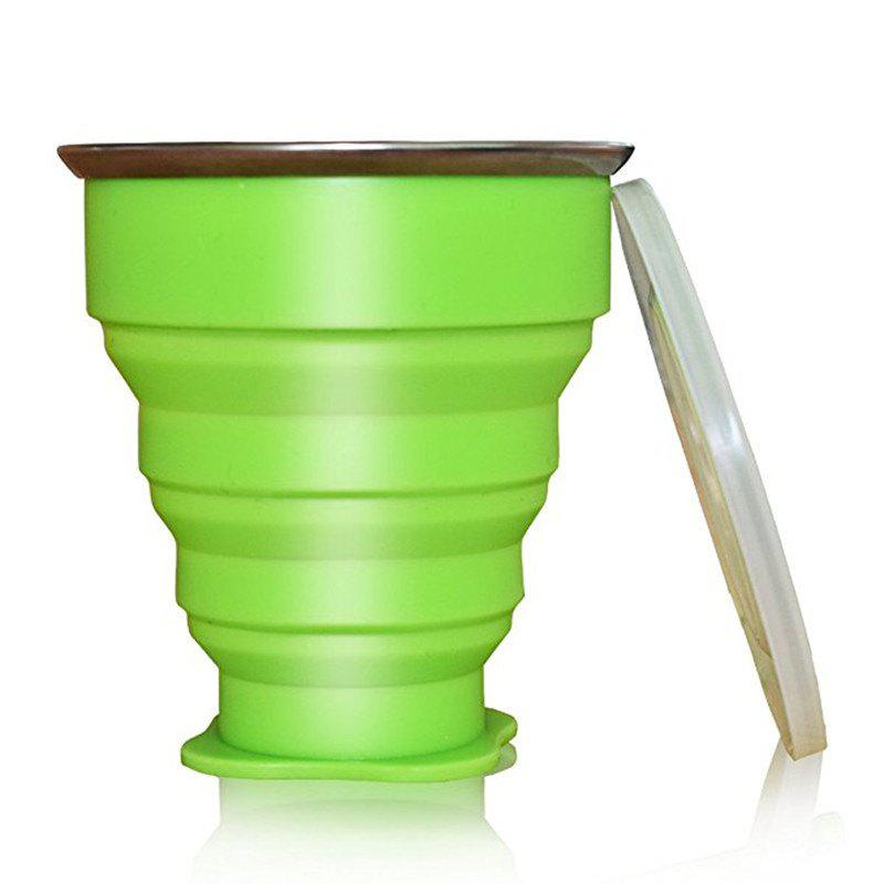 Collapsible Travel Mug Silicone Unique Camping Gear Supplies Accessor - GREEN