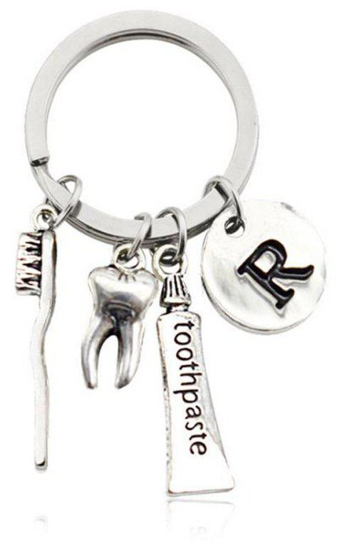 Creative Tooth Toothpaste Toothbrush Key Chain - SILVER SIZE 5
