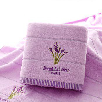 Cotton 32 Shares of  Embroidery Lavender Fragrance Bath Towel - PURPLE