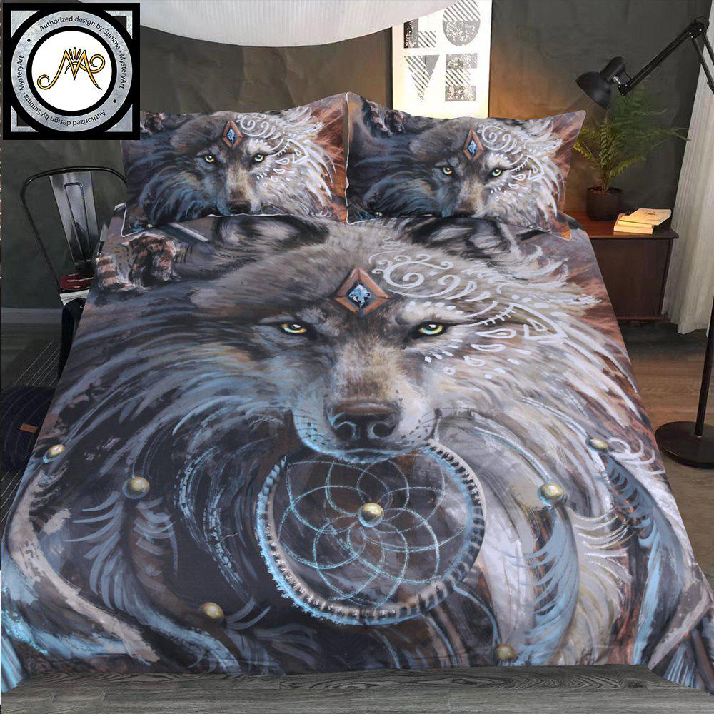 New 3D Printed Wolf Warrior Bedclothes 4PCS Burst - GRAY TWIN