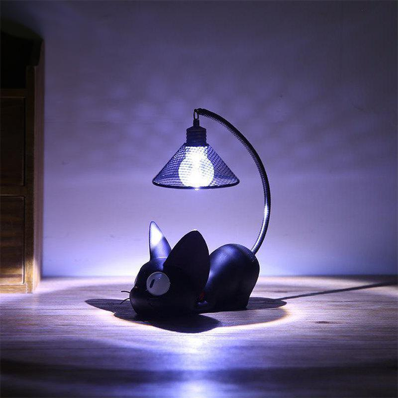 Mini lampe de table noire mignonne chat nuit - multicolor A