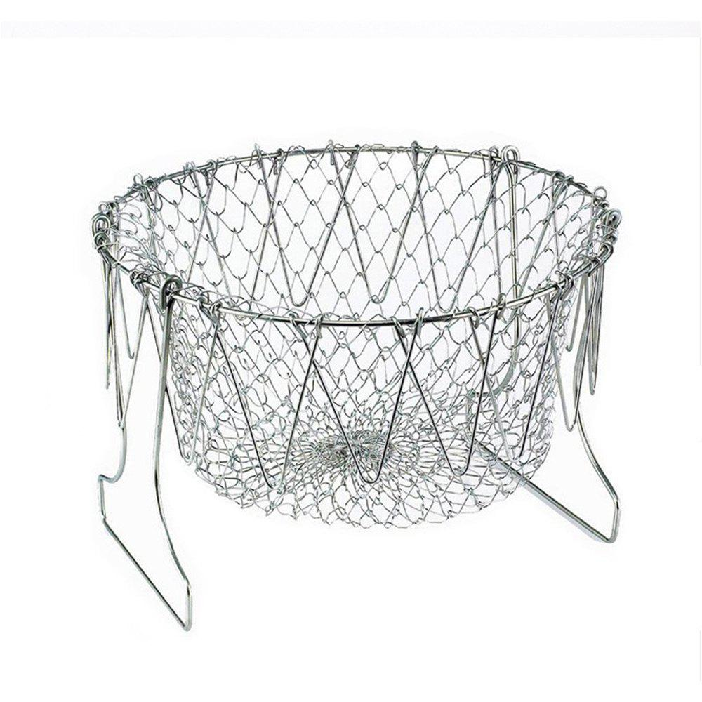 Stainless Steel Magic Mesh Foldable Fry Basket Strainer Expandable Colander 1 5 sanitary stainless steel ss304 y type filter strainer f beer dairy pharmaceutical beverag chemical industry
