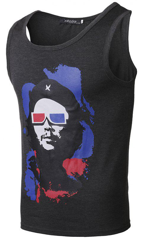 Men Printed Fashion Casual Vest - multicolor D M