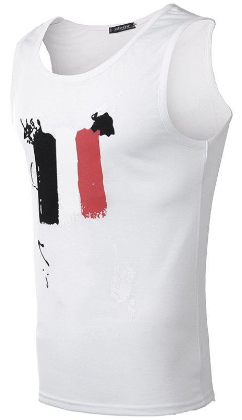Men Printed Fashion Casual Vest - multicolor F XL