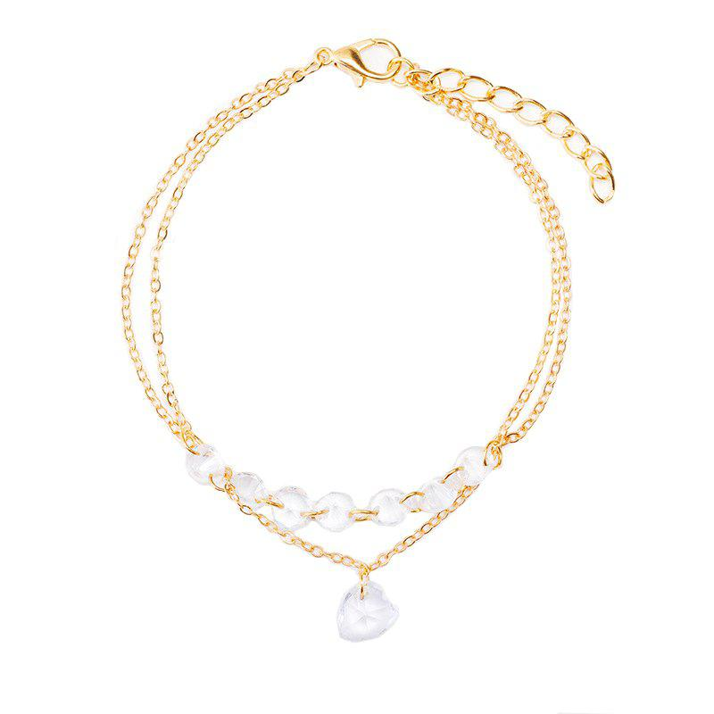 Heart Shaped Gemstone Zircon Hand Chain in Summer Natural Style Hand Decoration - GOLD