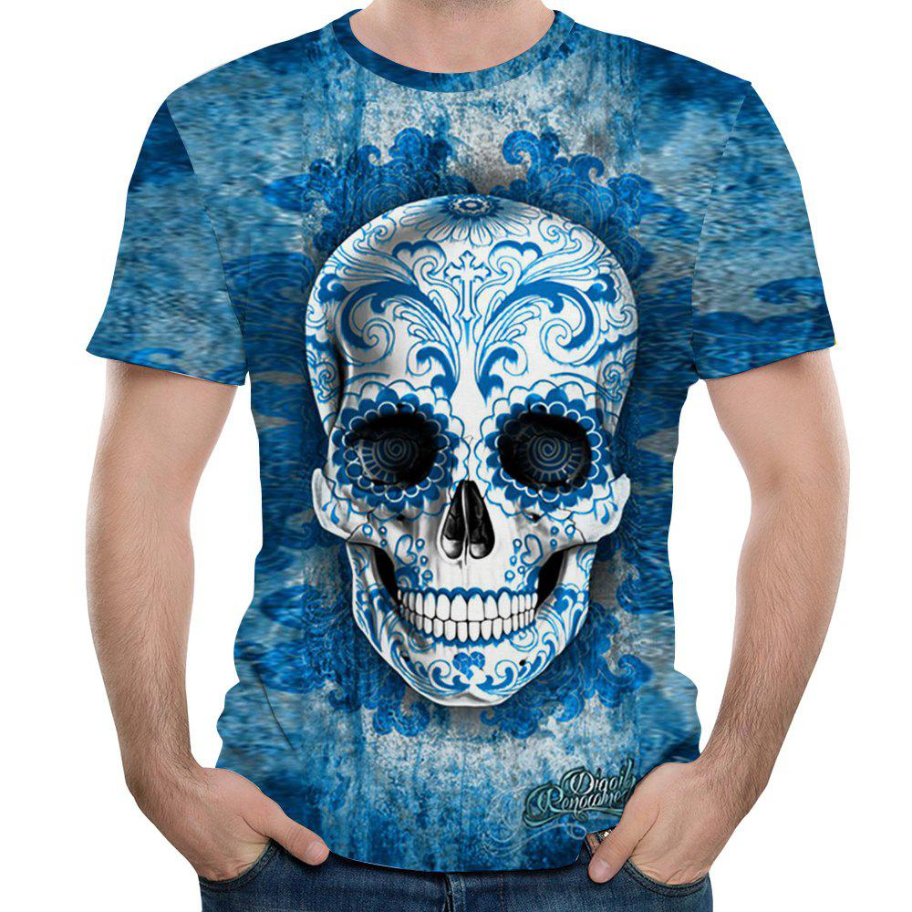 Fashion Casual Blue Skull Head 3D Print Men's Short Sleeve T-shirt цена