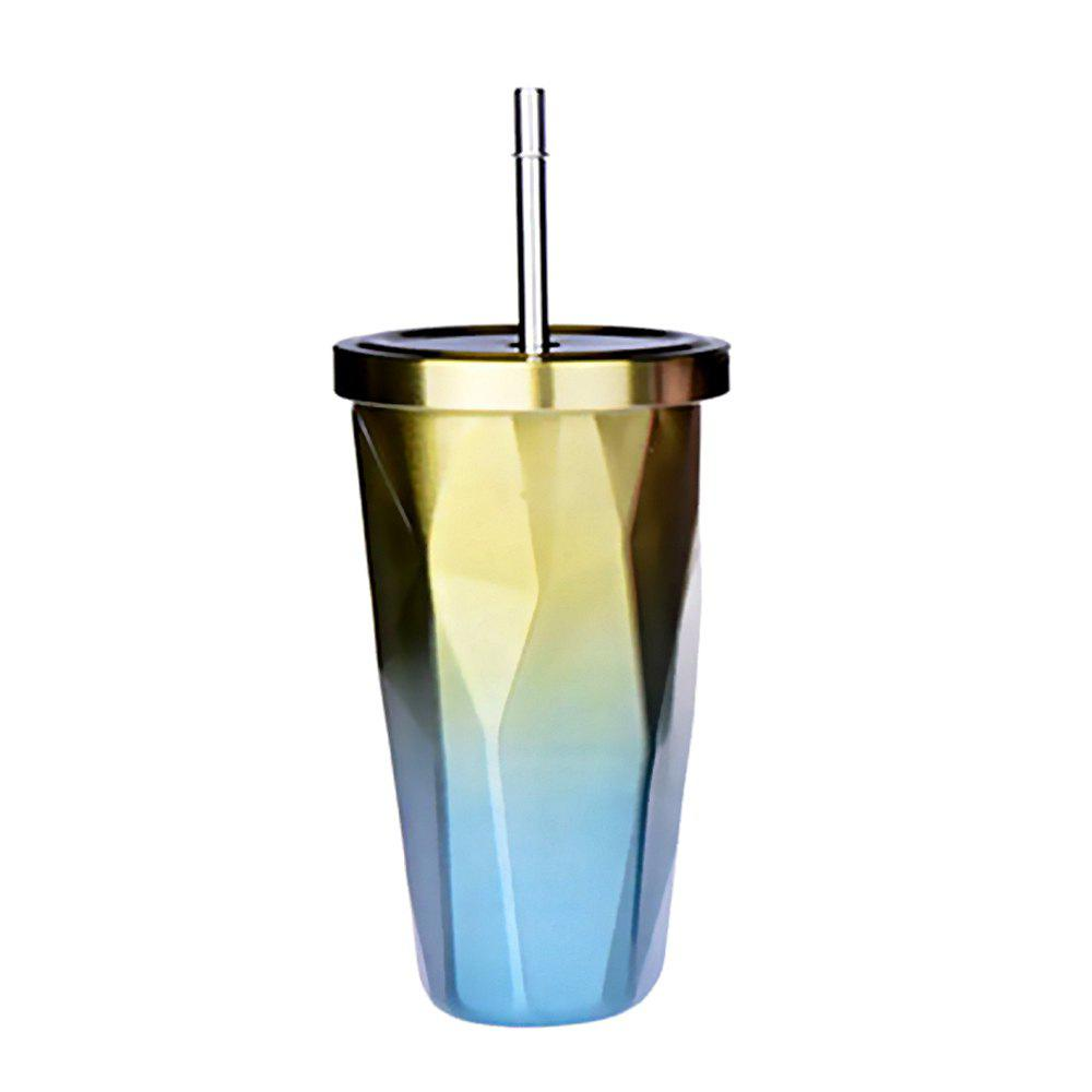 Double Stainless Steel Irregular Straw Cup 1pcs - GOLDENROD