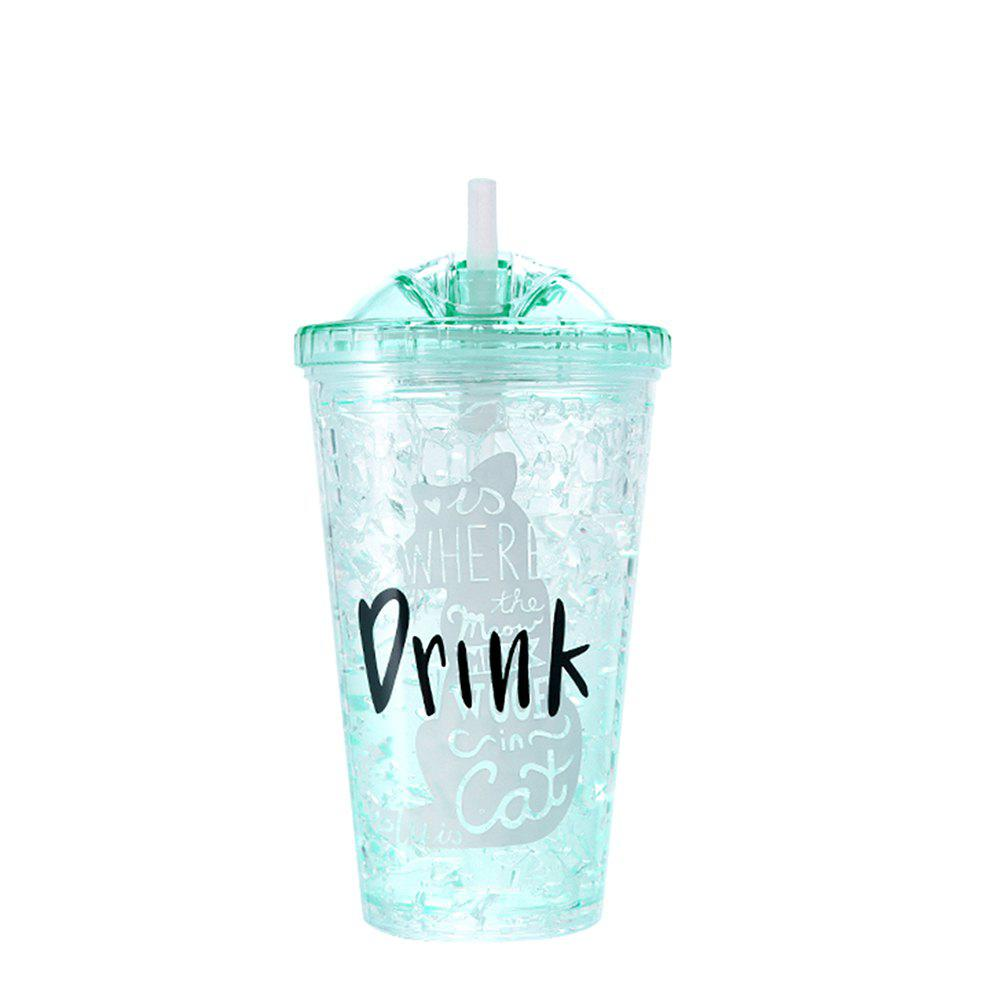 Summer Student Eco Gel Double Sippy Couple Broken Ice Plastic Cup 1pcs - GREEN THUMB