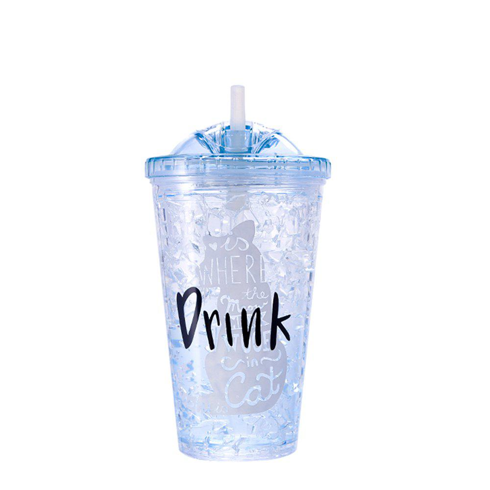 Summer Student Eco Gel Double Sippy Couple Broken Ice Plastic Cup 1pc - BLUE ANGEL