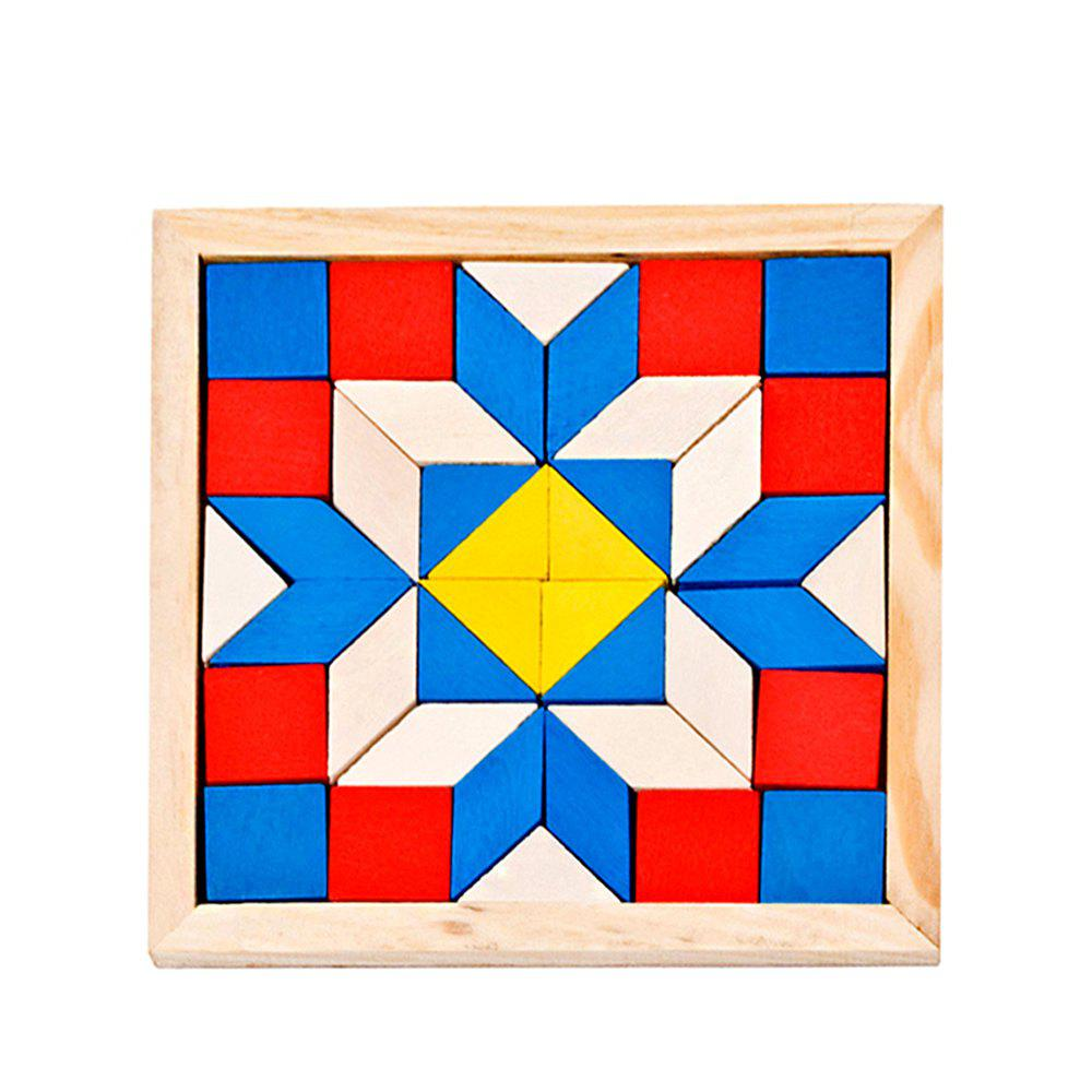 Enlightenment Preschool Rhombic Triangle Wooden Building Block Puzzle - multicolor