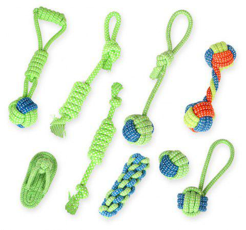 Pet Supplies Dog Chew Toys Molar Teeth Cleaning Bite Rope 13PCS - GREEN ONE SIZE