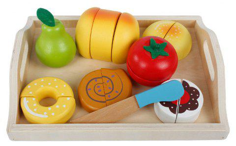 Kid Pretend Toy Early Education Wooden Vegetable Fruit Toy Set - multicolor E