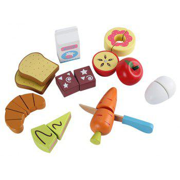 Kid Pretend Toy Early Education Wooden Vegetable Fruit Toy Set - multicolor F
