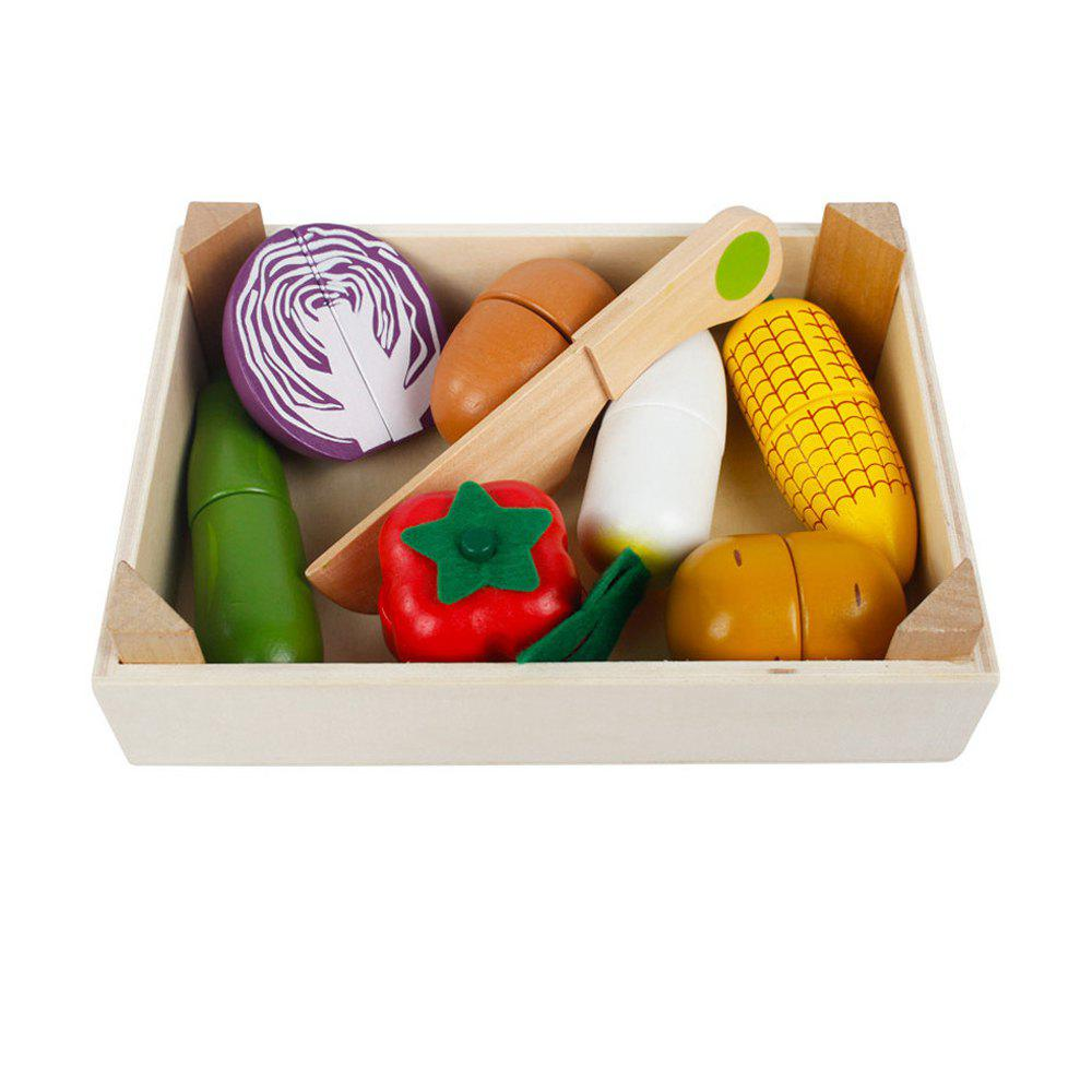 Kid Pretend Toy Early Education Wooden Vegetable Fruit Toy Set - multicolor B