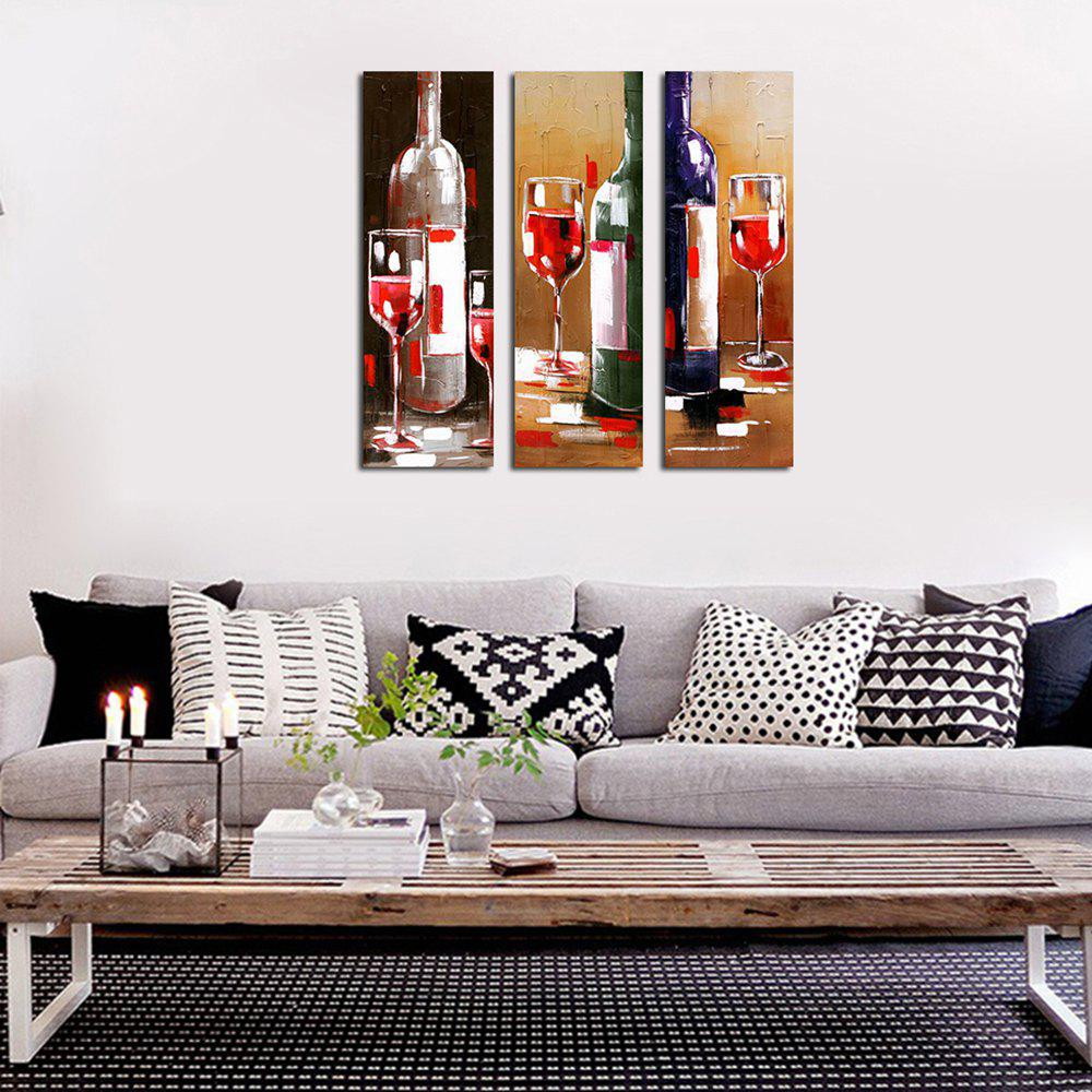 Modern Framed Canvas Living Room with Abstract Wine Bottle Decoration Print 3PCS