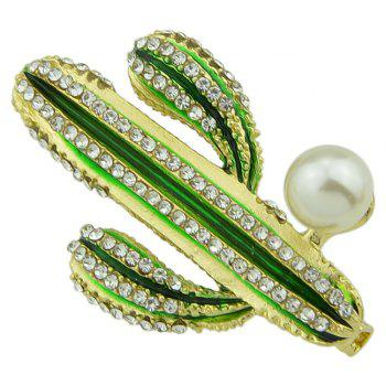 Green Enamel Cactus with Rhinestone Brooches - GOLD