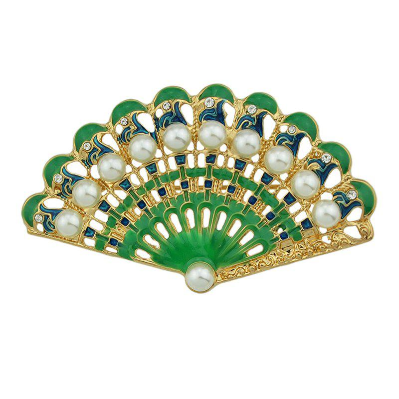Green Blue Fan-shaped with Rhinestone Brooches - LIME GREEN