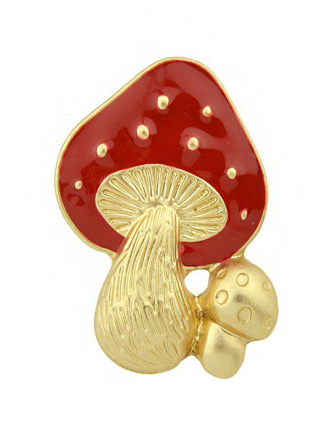 Gold-color with Red Enamel Mushroom Brooch - LOVE RED