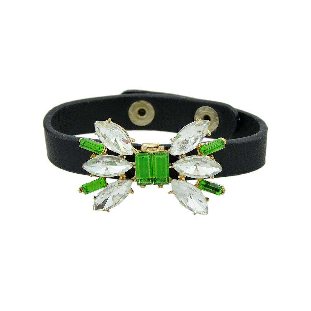 White Green Geometric Crystal Charm Bracelet - BLACK