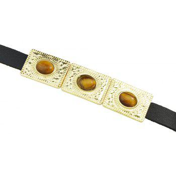 Rock Punk PU Leather with Metal Turquoise Bracelets - COFFEE