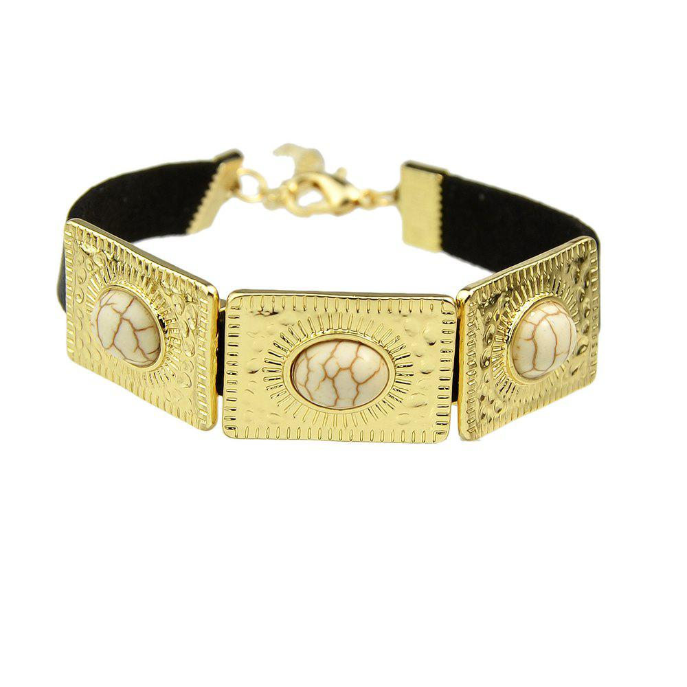 Rock Punk PU Leather with Metal Turquoise Bracelets - BEIGE