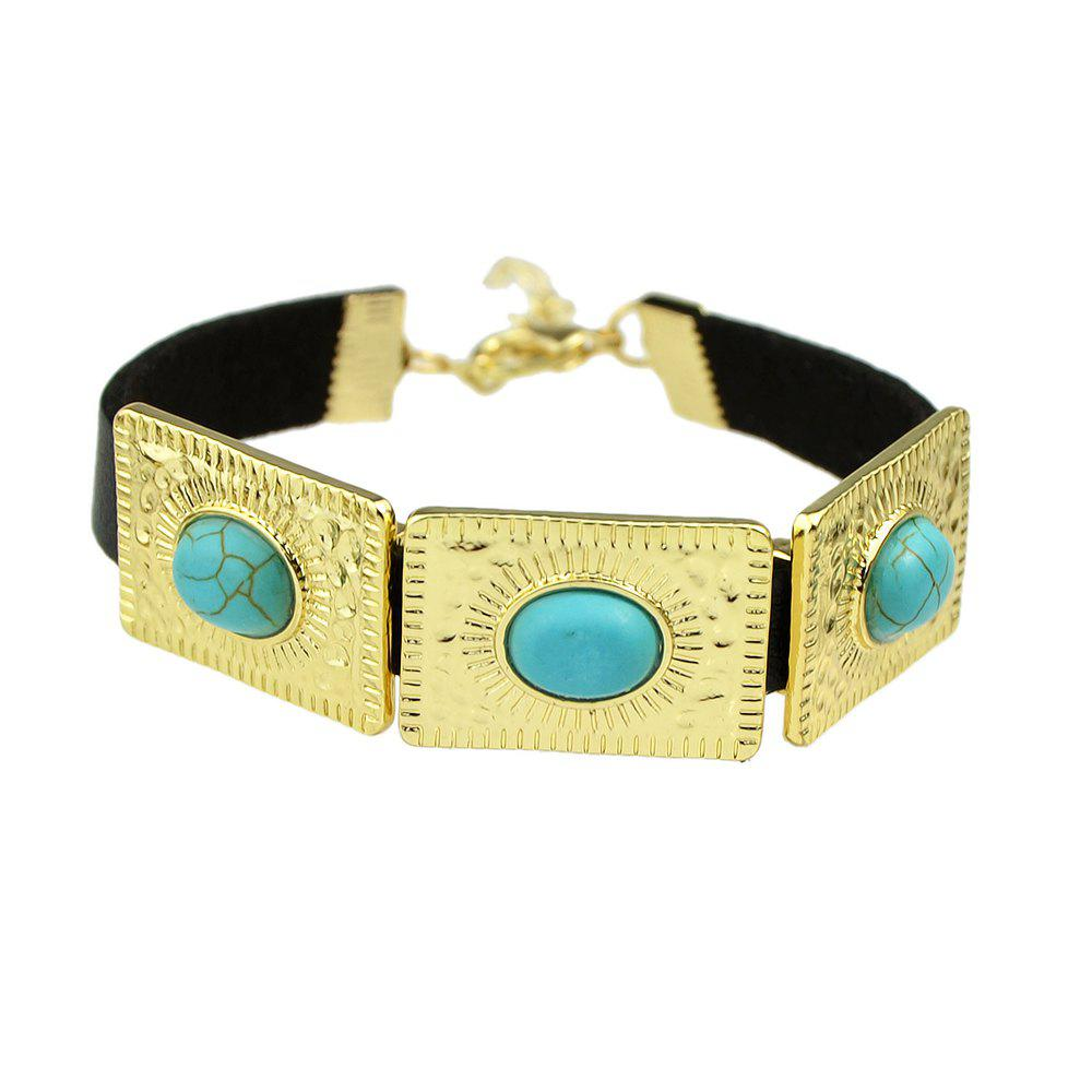 Rock Punk PU Leather with Metal Turquoise Bracelets - TURQUOISE