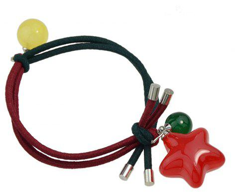 Candy Color Beads Star Bead Charm Headbands - LAVA RED