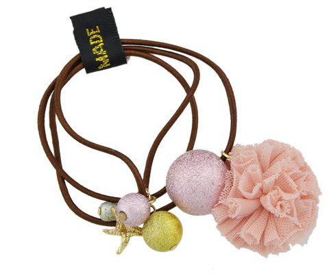 Elastic Rope with Flannelette Flower Hairbands - MISTY ROSE