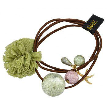 Elastic Rope with Flannelette Flower Hairbands - SALAD GREEN